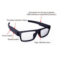 Wholesale glasses camcorder hidden camera - New Fashion Smart Glasses Video Camera Eyewear DVR HD 1080P Touch Mini Camcorder Pinhole Spy Hidden Record Glasses 16GB Work Time 75minutes