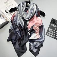 Wholesale Women Plaid Poncho - 2018 luxury brand Women Silk scarf Beach Shawl and Echarpe Luxurious Wrap Designer scarves Plus Size female beach stole bandana
