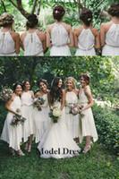 Wholesale tea length chiffon halter resale online - 2018 A Line Country Bridesmaids Dresses Chiffon Tea Length Halter Simple Party Dresses for Wedding Guest Abiti da damigella d onore lunghi