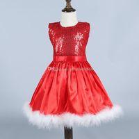 bebek elbiseleri oymalar toptan satış-Bebek kız Noel prenses elbise pamuk Çocuk Kolsuz sequins Elbiseler Çocuklar Noel kostüm C2786