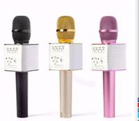 Wholesale Horn Speaker For Iphone - Q9 Bluetooth Microphone Portable Handheld Wireless KTV Karaoke Player Dual Horns Loudspeaker Speaker For iPhone Samsung 10pcs lot