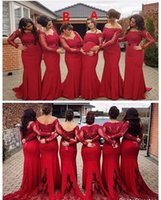 orange meerjungfrau maxi kleid großhandel-2019 Günstige Dark Red Mermaid Brautjungfernkleider Maxi Style Lace Langarm Sweep Zug Plus Size Trauzeugin Hochzeitsgast Kleid Wear