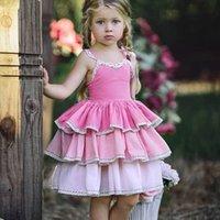 sevimli mor parti elbiseleri toptan satış-Everweekend Tatlı Çocuk Kız Ruffles Halter Prenses Parti Elbise Batı Moda Pembe Mor Renkli Sevimli Çocuk Yaz Elbise