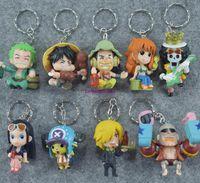Wholesale one piece pendant - 9pcs set One Piece Pvc Action Figure phone keychain key ring Assembly Leisure Life Pirates Group pendant