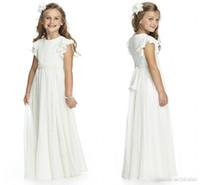 şifon fıstık çiçek kız elbiseleri toptan satış-2019 Boho Ülke Stil Şifon Çiçek Kız 'Elbiseler Fow Düğün Fildişi Kapaklı Kollu İlk Communion elbise Kat Uzunluk Parti törenlerinde