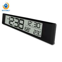 внутренний электронный дисплей оптовых-Температура и влажность дисплей настенные часы украшения Европейская батарея часы дата крытый темпера цифровой электронный будильник