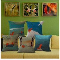 Wholesale study case online - White Tail Red Body Fox Print Cotton Flax Pillow Case Cover Car Sofa Pillow Sham Armchair For Living Study Dining Room Bedroom Hotel