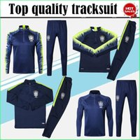 Wholesale half tights - 2018 Brazil tracksuit training suit Uniforms shirts Chandal pogba FIRMINO tracksuits 18 19 Brazil long sleeve tight pants With half zipper