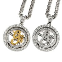 Wholesale 14k Gold Cuban Link - 2018 Necklaces Mens Jewelry Iced Out Whirligig G-unit Necklace Pendant Charm Fashion Bling 80cm Cuban Chain Hip Hop Crystal Gift