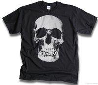 kadın yarı gömlekler toptan satış-Mens Womens T Gömlek Goth Punk Biker Kaya Büyük Yarım ton Kafatası Siyah Sm-3XL