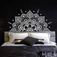 vinil duvar etiketleri yoga toptan satış-Yatak odası Başlık Boho Bohemian Dekor Yarım Mandala Duvar Çıkartması Yoga Stüdyosu Namaste Süs Mandala Vinil Duvar Sticker AY1435