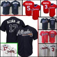 Wholesale free baseball logos online - Atlanta Braves Ronald Acuña Jr Chipper Jones Freddie Freeman Jersey stitched Logos Baseball Jerseys