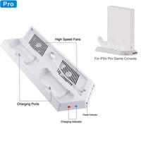 controlador ps4 más frío al por mayor-White Cooler Fan, Vertical Cooling Stand Dual Controllers Base de carga USB Hub para Playstation 4 Pro PS4 PRO Showcase Console