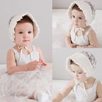 bebek dişi beanies toptan satış-Güzel Yürüyor Çocuk Kız Çiçek SunHat Beanies Yaz Bebek Kız Bebek Yumuşak Dantel Pamuk Şapka Kap Ayarlanabilir Beanie Bonnet Caps