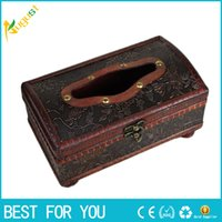 Wholesale Wooden Tissue Box Holder - 1pc Tissue Box Elegant Crafted Wooden Antique Handmade Old Antique Paper Box Packing Holder 21*12*11cm
