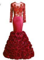 ingrosso immagini delle rose di fiori-SoAyle Real Immagine Vestidos de festa 2017 Prom Dresses Mermaid maniche lunghe Roses Fiori Open Back Africa Prom Dresses Skinny