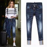 moda jeans mujeres pintan al por mayor-Skinny Fit Jeans para mujer moda mujer pantalones de mezclilla pintados lejía desgastada lavado Vintage Cowboy pantalones señora