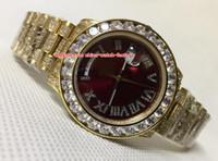 Wholesale yellow sapphire bracelet - Luxury Top Quality Watch 40mm Day-Date 218239 Full Diamond Bezel Bracelet 18k Yellow Gold Swiss ETA 2836 Movement Automatic Mens Watches