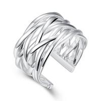 tranças abertas venda por atacado-925 Anel de Prata Esterlina New Fashion Open Trançado Anel Mulheres Homens Presente de Prata Jóias Anéis de Dedo
