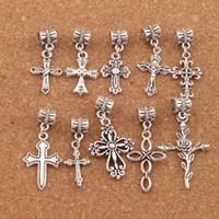 Wholesale Big Cross Bracelets - mix Flower Cross Big Hole Beads 100pcs lot 10styles Antique Silver Dangle Fit European Bracelet Jewelry DIY BM33