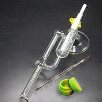 ingrosso tubi petroliferi-Bong in vetro per acqua con base in cera Dab Rigs Punta in ceramica 14mm 18mm per olio per giunzioni Mini Nector Collector Kit Tubo per acqua in vetro