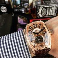 дешевые королевские синие пkers for windows оптовых-Роскошные часы вино баррель дизайн корпуса золото серебро турбийон машины из натуральной кожи ремешок мужские часы бренд часы Gent наручные часы