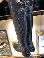 büyük çizmeler toptan satış-Ins High End Kadın Sayaç moda Diz üzerinde düz çizmeler büyük boy kadın ayakkabı Tasarımcısı marka deri laides Ayakkabı 35-40