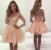 Wholesale peach cocktails - New Arrival Homecoming Cocktail Dresses Jewel Neck Long Sleeves Peach Lace Appliques Beaded Prom Dresses Party Dress Plus Size Gowns
