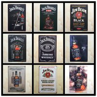 Wholesale rustic metal wall decor - Jack Danieis Black Jim Beam Alcohol Retro rustic tin metal sign Wall Decor Vintage Tin Poster Cafe Shop Bar home decor