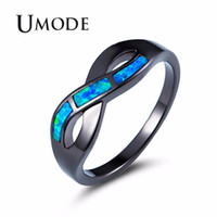 ingrosso anelli di gioielli umode-UMODE Ocean Wave Blue Fire Opal Anelli per donna Donna Vintage Black Gold Jewelry Ragazze Accessori da sposa bijoux femme UR0429