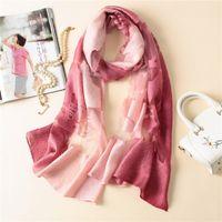 Wholesale wholesale designer silk scarves women - Wholesale 190*65cm 16 Fade Colors Women Artificial Silk Lace Designer Scarf Wraps Hijab Bandana Scarf Table Blanket Beach Towel Home Decor