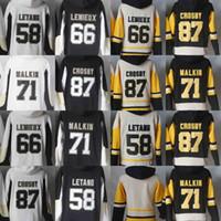 Wholesale Mens Blank Hockey Jerseys - Mens Hoodie Jersey Blank 58 Kris Letang 71 Evgeni Malkin 66 Mario Lemieux 81 Phil Kessel 87 Sidney Crosby Hoodies Sweatshirts
