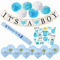 Wholesale mini banners - Baby Shower Decorations for Boy It's aBoy Banner Balloon Mini Pacifier Blue Mummy To Be Sash Baby Shower Favors Supplies