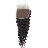 Wholesale top quality virgin human hair for sale - Mink Brazilian Peruvian Malaysian Virgin Human Hair Lace Closure Top A Middle Brown Color inch Free Part Good Quality Deep Wave