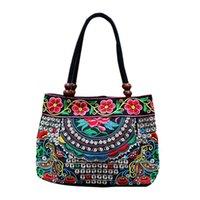 bolsa de nylon chino al por mayor-Las mujeres del estilo chino del bolso del bordado étnico verano de la manera señoras de las flores hechas a mano de asas de los bolsos de hombro de la mariposa del Cruz-cuerpo