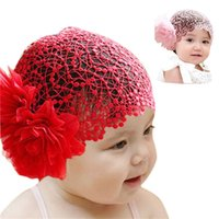 Wholesale Caps For Infants - Wholesale- Modern For 6 months -2 years Baby Infant Girl Lace Flower Headband Elastic Hairband cap hat Hair Band clothes Red,Pink Oct05