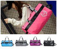 Wholesale blue beach bags - Pink Duffle Striped Beach Bags Travel Outdoor Luggage Large Yoga Shoulder Bags Satchel Handbag 5 Color EEA55