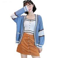 chaqueta azul coreana al por mayor-Chica Cardigan de punto casual 2018 Otoño de las mujeres coreanas Suéter de remiendo suelto Capa azul Chaqueta de manga larga