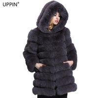 büyük kürk ceket ceketi toptan satış-UPPIN Kış Uzun Kürk Palto Büyük Boy Kadın Faux Gümüş Tilki Kürk Ceket ile Davlumbaz Kalın Sıcak Kapşonlu Kadın Ceket chaqueta mujer