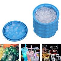 Wholesale Wholesale Bar Ice Buckets - New Ice Cube Maker Genie Space Saving Ice Genie Silicone Ice Bucket Kitchen Bar Auto Tools Drink Holder Revolutionary DDA363