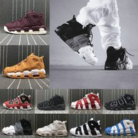 Wholesale Gold Shoes For Boys - [With Box] Air more Uptempo Shoes Red Black Gold Boys Basketball Shoes For 3M Fashion Casual Sneakers Scottie Pippen Sports Sneakers US8-13