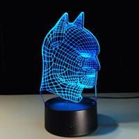 батман светодиодные фары оптовых-Marvel Heroes Batman Head LED Night Light для мальчиков девочек спальня освещение украшения смарт магия Night Light