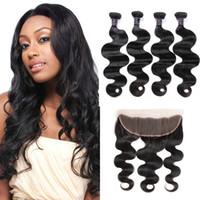 Wholesale human hair lace closure 4pcs for sale - Ishow Human Hair Weave Peruvian Hair Bundles With Closure Brazilian Body Wave Hair Weaves With Lace Frontal Cheap A