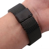 Wholesale pebble steel band for sale - New Lug Width mm mm mm mm Black gold Solid Heavy Mesh Stainless Steel Watch Band Fit Pebble Smart Watch Flip Lock Clasp