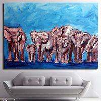 tiere gehangene wand großhandel-1 Panel Kunstwerk Hochwertige Moderne Wandkunst Auf Leinwand Tier Ölgemälde Niedlichen Elefanten Hängen Bilder Room Decor Kein Rahmen