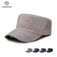головные уборы для мужчин оптовых-Summer Linen Flat Top Baseball Caps for Men Women Snapback Gorras Leisure Army Cap Breathable Shading Hat for Unisex GH-802