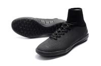 ingrosso stivalino piatto nero-2018 Nuova vendita completa nero Mercurial Superfly V IC tacchetti da calcio originale Mens scarpe da calcio piatto alta caviglia scarpe da calcio al coperto