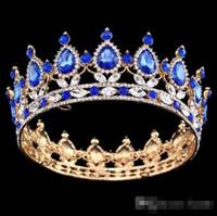 arte reina al por mayor-Concurso Círculo completo Tiara Rhinestones austriacos transparentes Rey / reina corona Boda Corona nupcial Costume Party Art Deco
