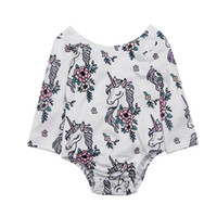 Wholesale Horse Bows - Girls Printed Rompers Horse Hollowed Bow Floral Print Long Sleeve Newborn Jumpsuits Summer Spring Autumn Triangle Outfit 3-18M