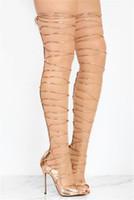 or peep toe talons achat en gros de-Été Nouveau Design Femmes Peep Toe Or Bracelet En Cuir Croix Sur Le Genou Sandales Gladiator Découpe Longue Talon Haut Sandale Bottes Chaussures Habillées